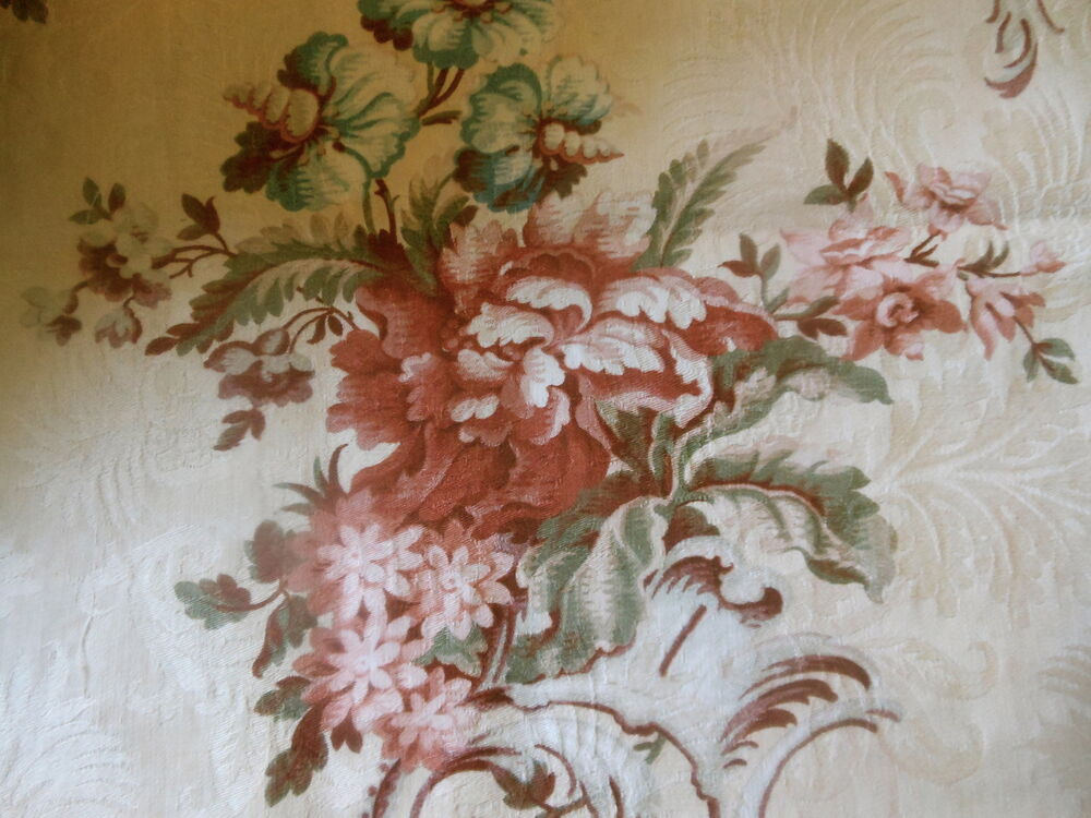 Antique french floral cartouche damask cotton fabric