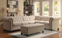 Traditional Formal Button Tufted Oatmeal Sectional Sofa ...