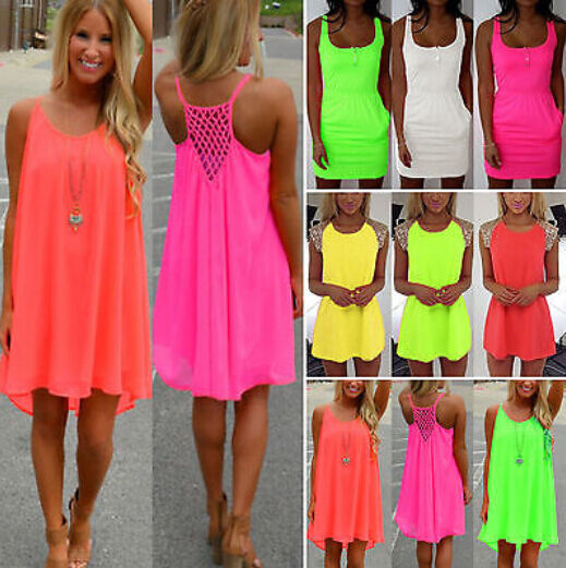 Neon Colored Plus Size Clothing Plus Size Womens Neon Mini Dress Sleeveless Party Tops