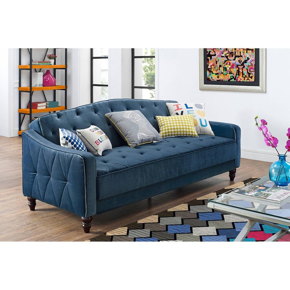 Where To Buy Old Sofas Novogratz Vintage Tufted Sofa Sleeper Ii Blue Bed Couch