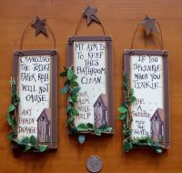 3 OUTHOUSE WOOD~PRIMITIVE BATHROOM SIGNS Wall Decor with ...
