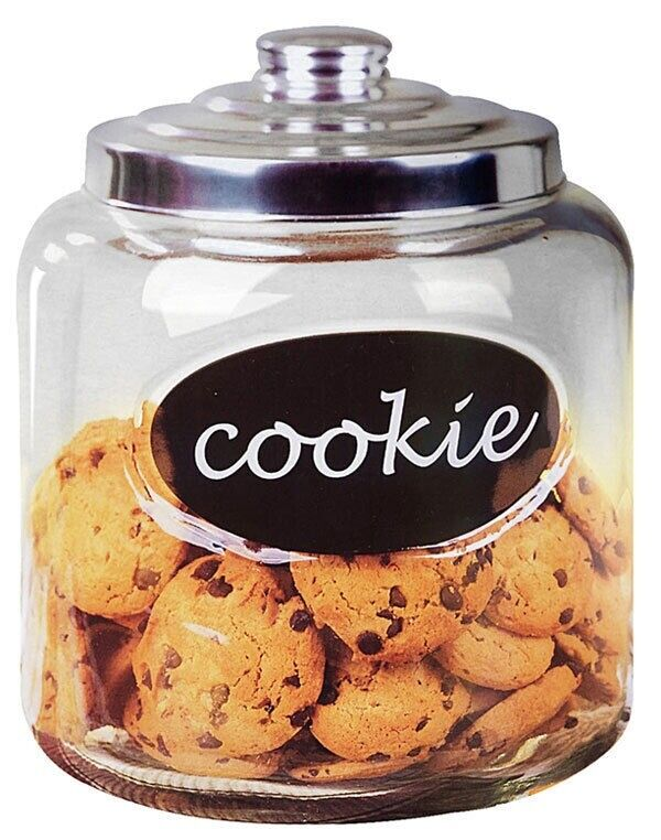 Keksdose Glas Home Basics New Clear Glass Cookie Jar With Metal Top