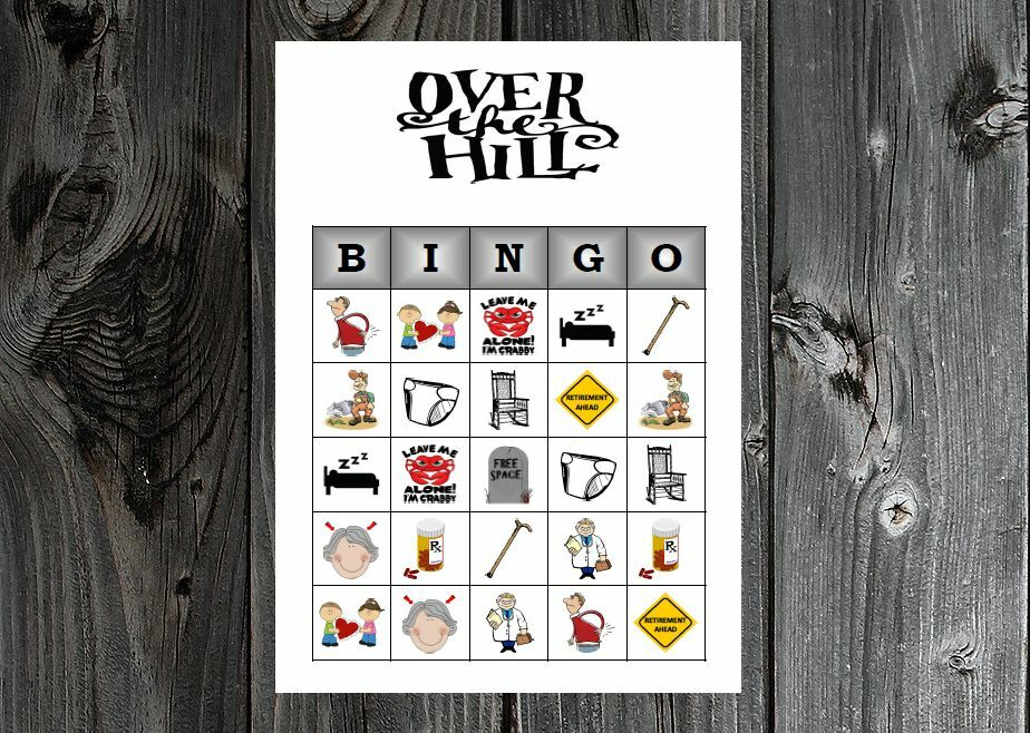 Over the Hill 40th 50th 60th Birthday Party Game Printable Bingo