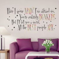Alice in Wonderland Mad Hatter Quote Large Wall Sticker ...