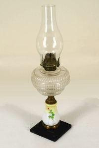 Antique Victorian Hand Painted Kerosene Oil Lamp, Milk ...