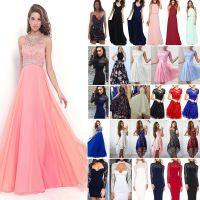 Women Lace Formal Dress Wedding Evening Ball Gown Party ...