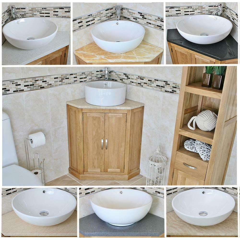 Stones Meubles Solid Oak Bathroom Corner Vanity Unit Sink Basin Cabinet Stone Worktop Inc Ebay