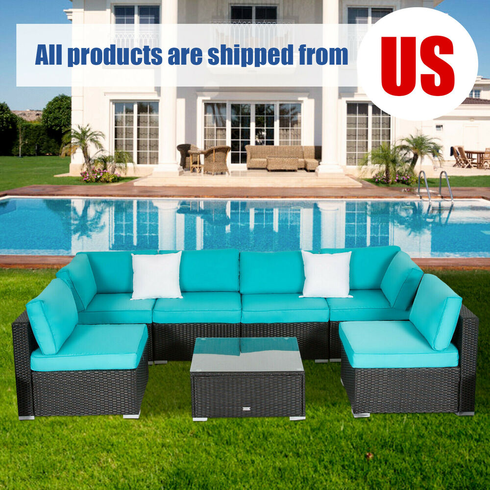 Sofa Cushions Set 7pcs Outdoor Patio Sofa And Table Set Sectional Garden