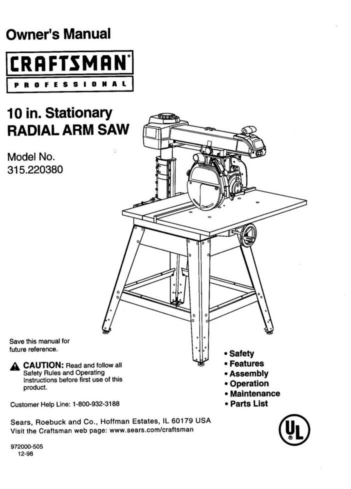 Craftsman 315220380 Radial Arm Saw Owners Instruction Manual eBay