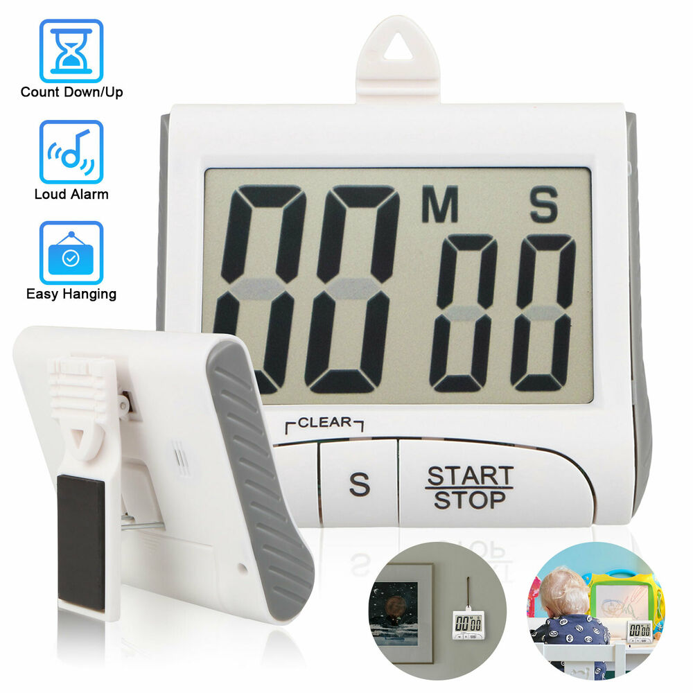 Alarm Timer Large Lcd Digital Kitchen Cooking Timer Count Down Up Clock Loud Alarm Magnetic Ebay