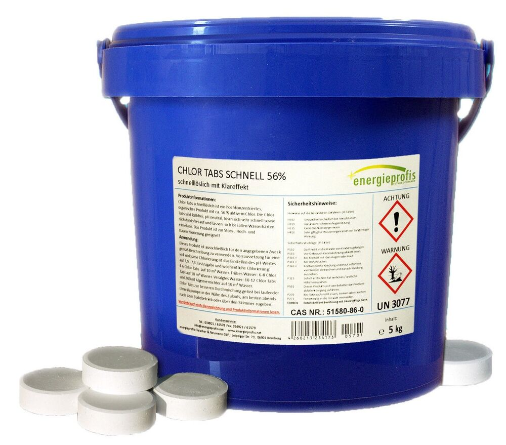 Chlor Pool Temperatur 5 Kg Chlortabs 20g Schnell Chlor Tabletten Desinfektion Pool Schock Ebay