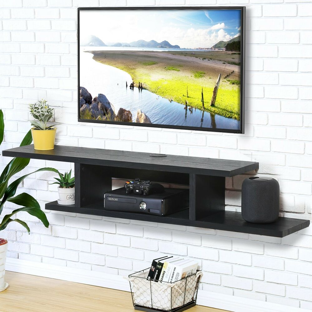 Large Wall Units For Living Room Floating Entertainment Center Tv Stand Wall Unit Large Inch Screen Mount Black 634759954255 Ebay