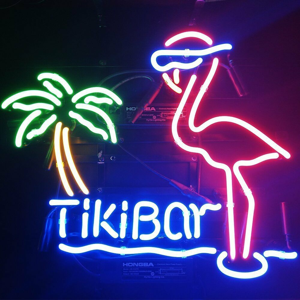 Neon Lamp New Tiki Bar Pink Flamingo Palm Tree Beer Bar Neon Lamp Light Sign 17