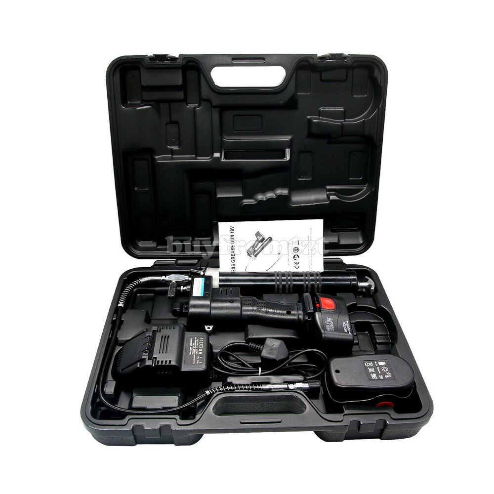 Electric Grease Gun Electrical Grease Gun 18v Cordless Grease Gun Kit 8000psi Heavy 2 Batteries Ebay