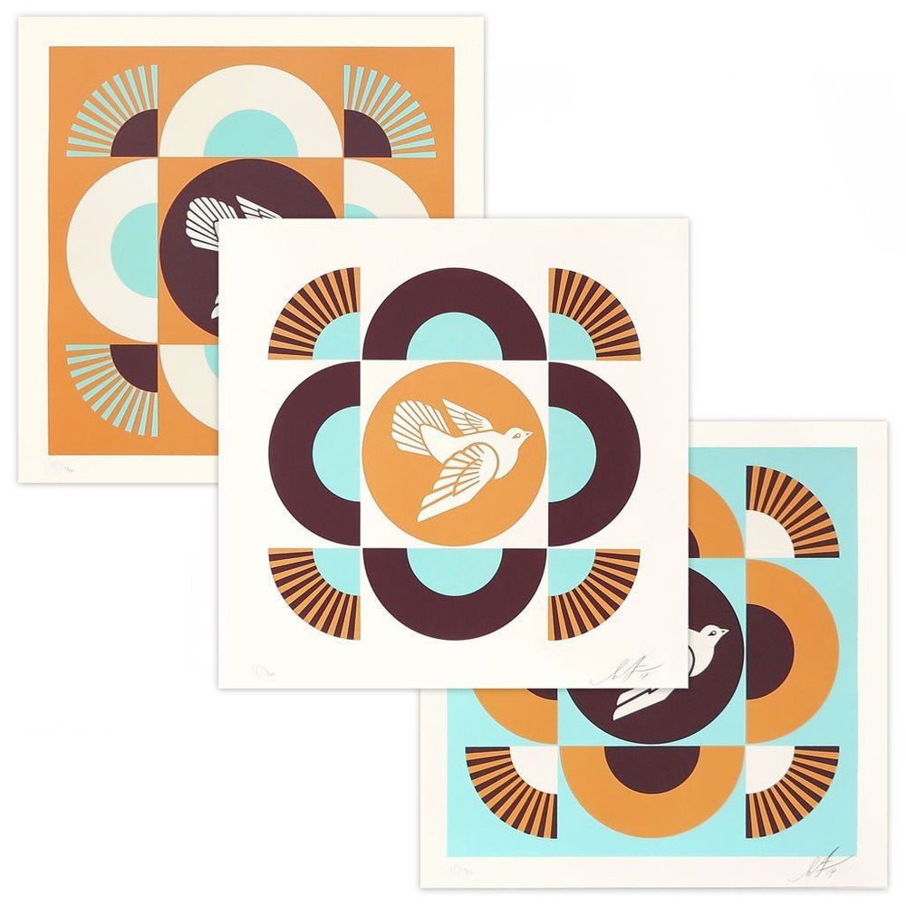 Poster Child Prints Obey Giant Geometric Doves Blue Orange 3 Prints Set Shepard Fairey Poster Child Ebay