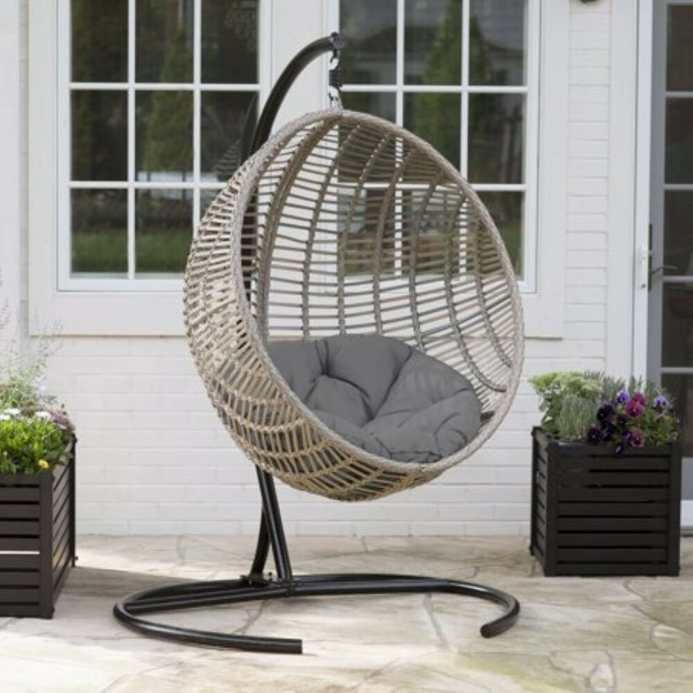 Hanging Outdoor Chairs Resin Wicker Hanging Egg Chair Outdoor Porch Swing Cushion Steel Stand Garden 795891114225 Ebay