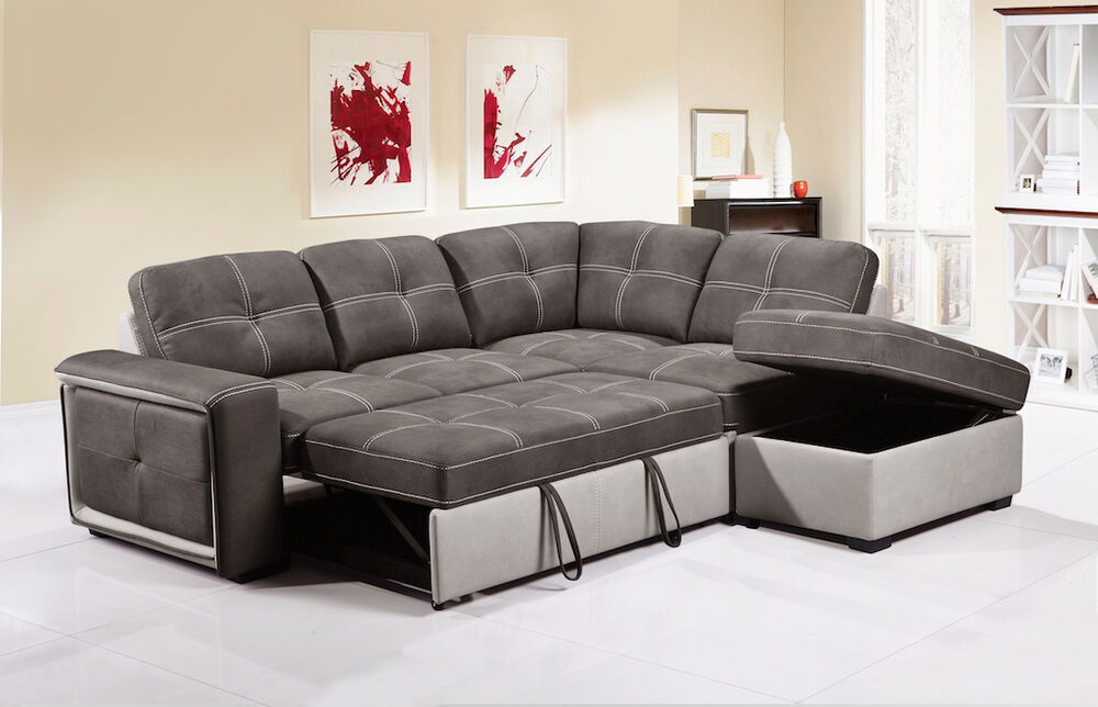 Ecksofa Grau Stoff Quinto Grey Fabric Corner Sofa Bed Pull-out Drawer Style W