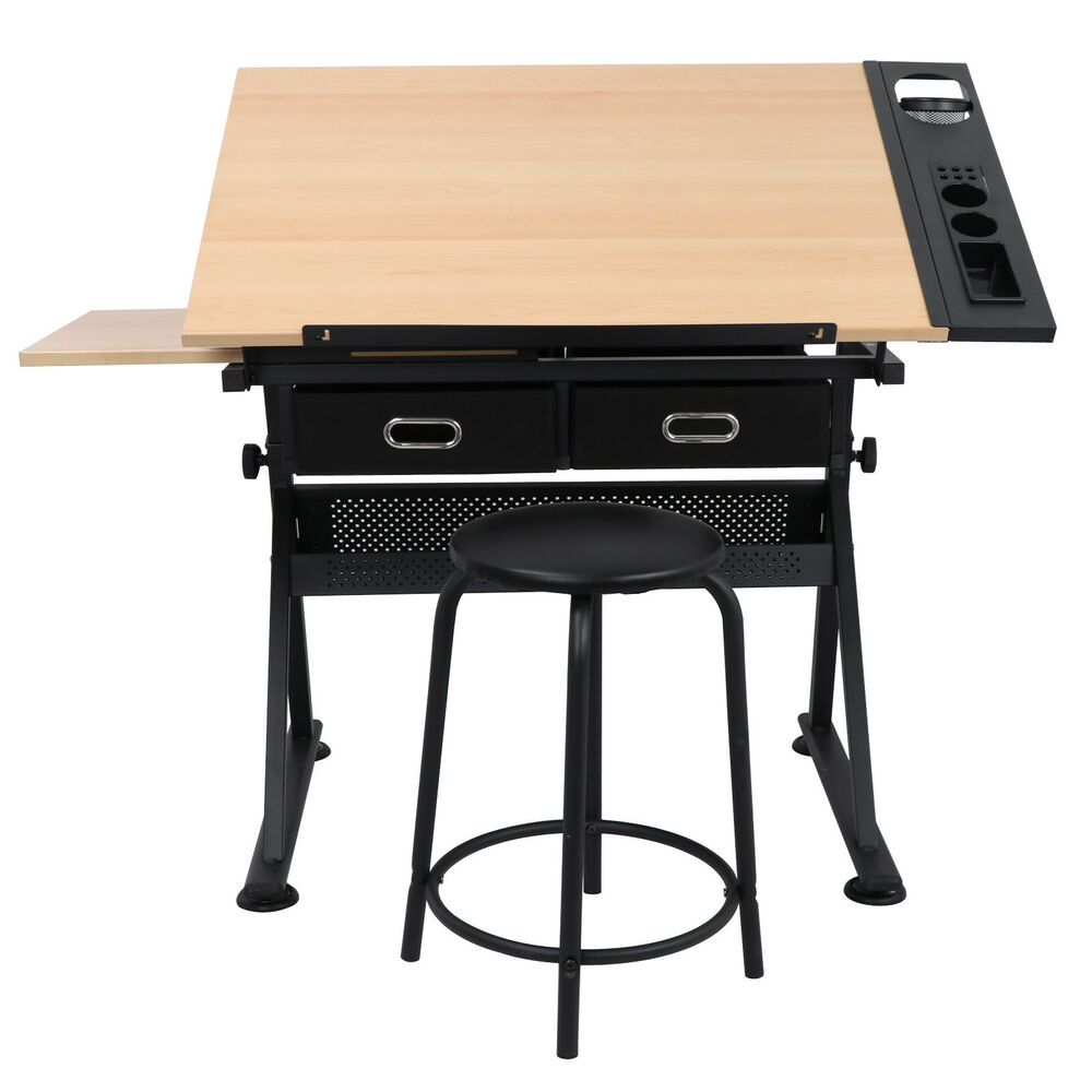 Adjustable Height Drafting Table Drawing Drafting Table Stage Platform Adjustable Height Or Angle W Pre Stool Ebay