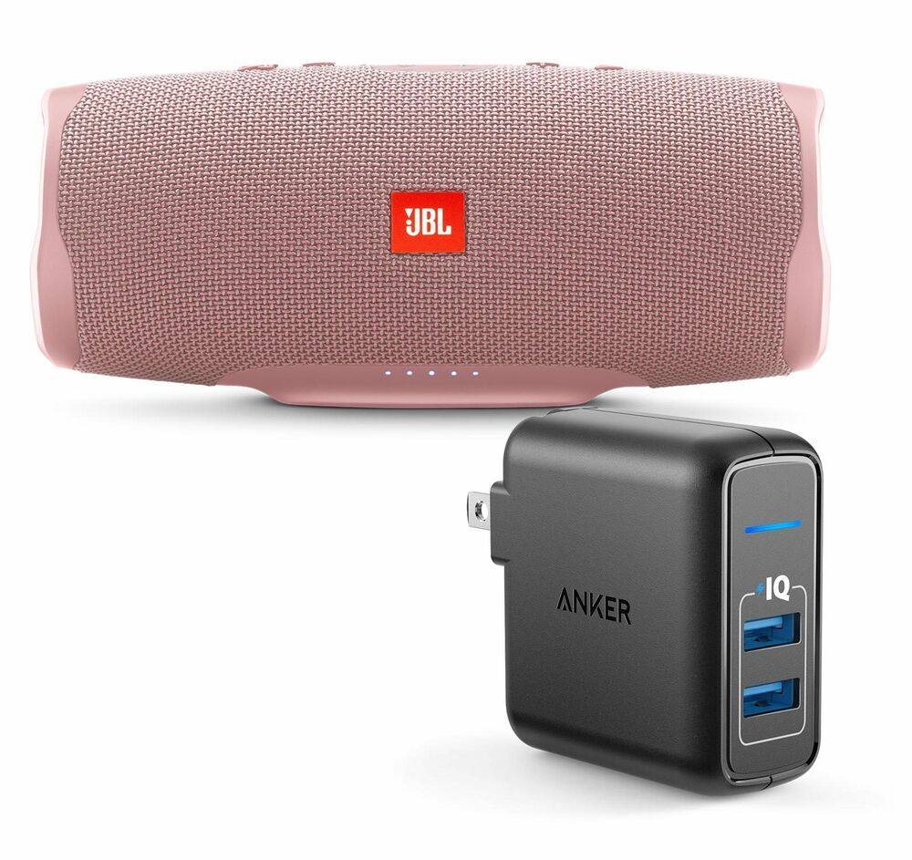 Jbl Bass Jbl Charge 4 Pink Portable Bluetooth Speaker W Anker Wall Charger Ebay