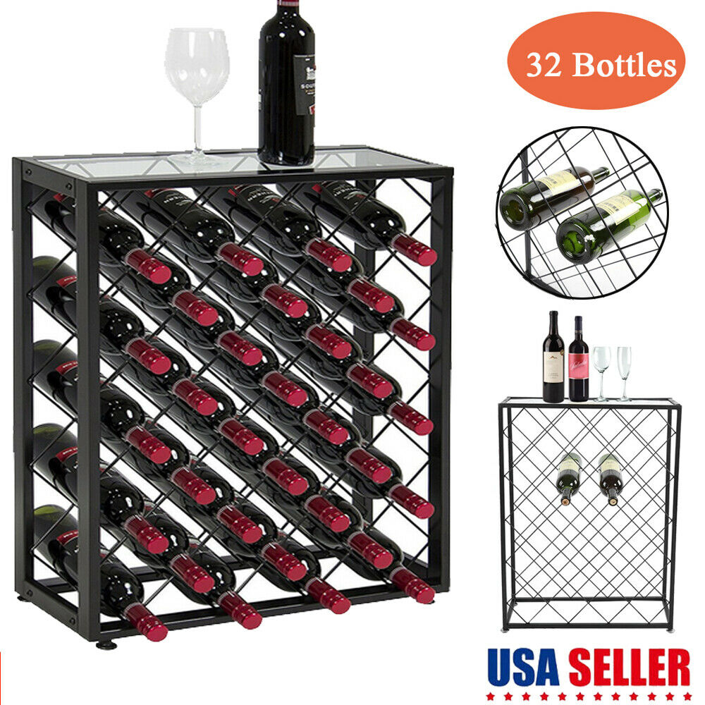 Metal Wine Racks 32 Bottle Black Metal Wine Rack Storage Display Case Liquor Cabinet Stand Glass 692753295521 Ebay