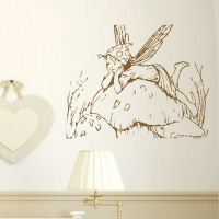 FAIRY on toadstool vinyl wall sticker art decal transfer