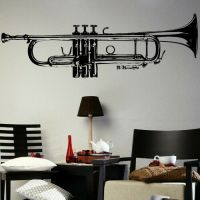 HUGE TRUMPET MUSIC WALL ART GRAPHIC STICKER TUNING giant ...