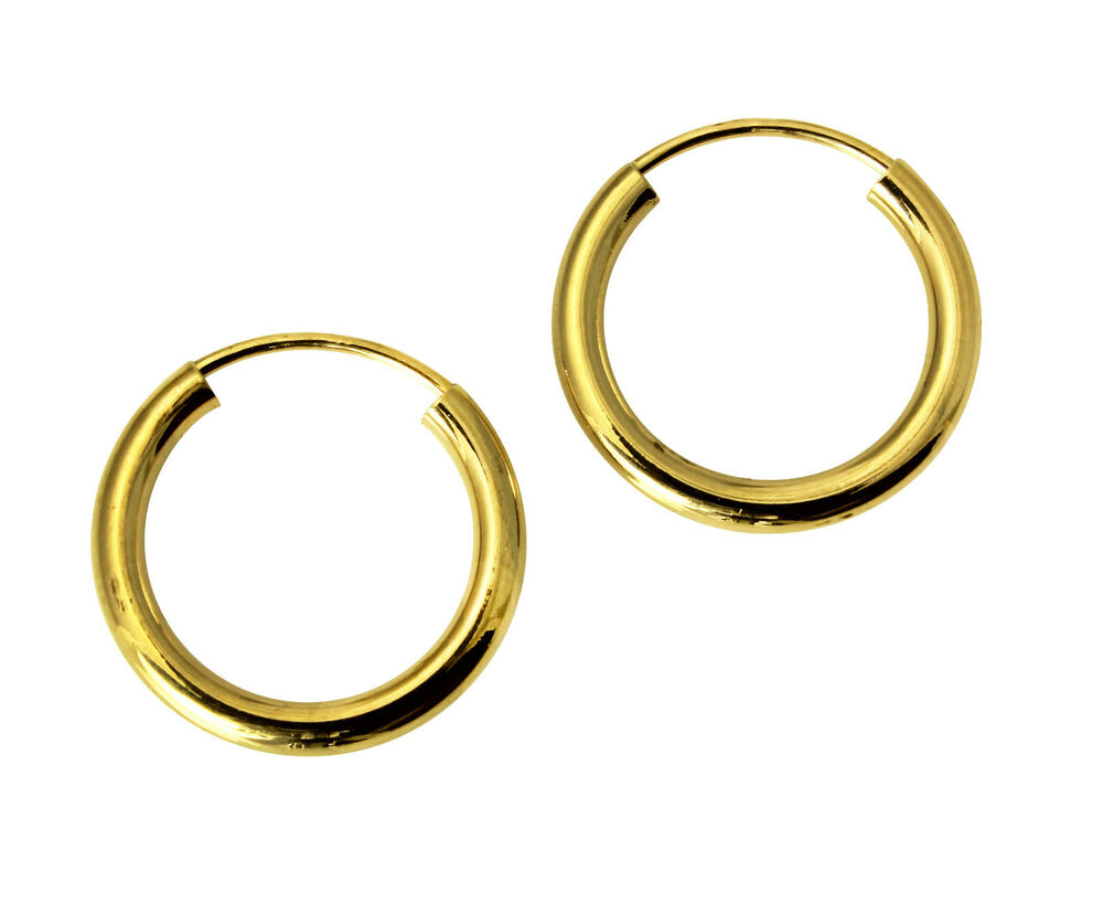14K Yellow Gold 2mm Thickness Polished Endless Small Hoop