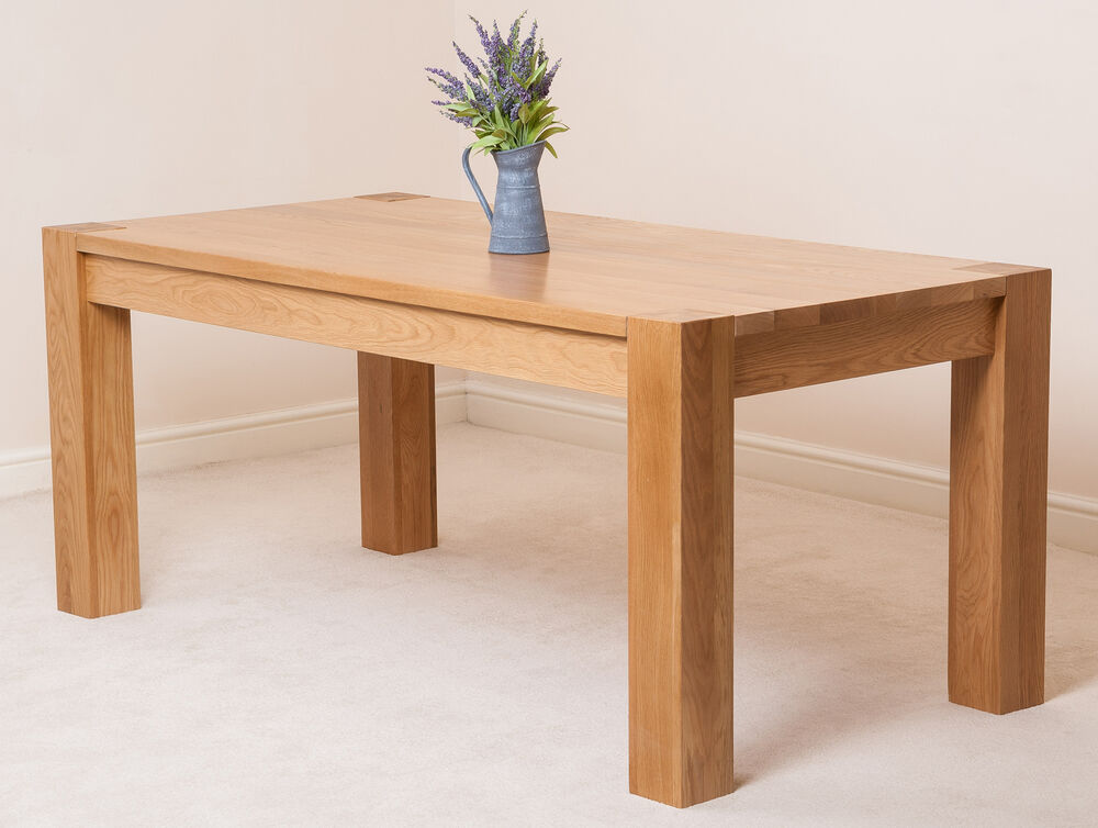 Kuba Solid Oak Wooden Large 180cm Fixed Dining Room Table