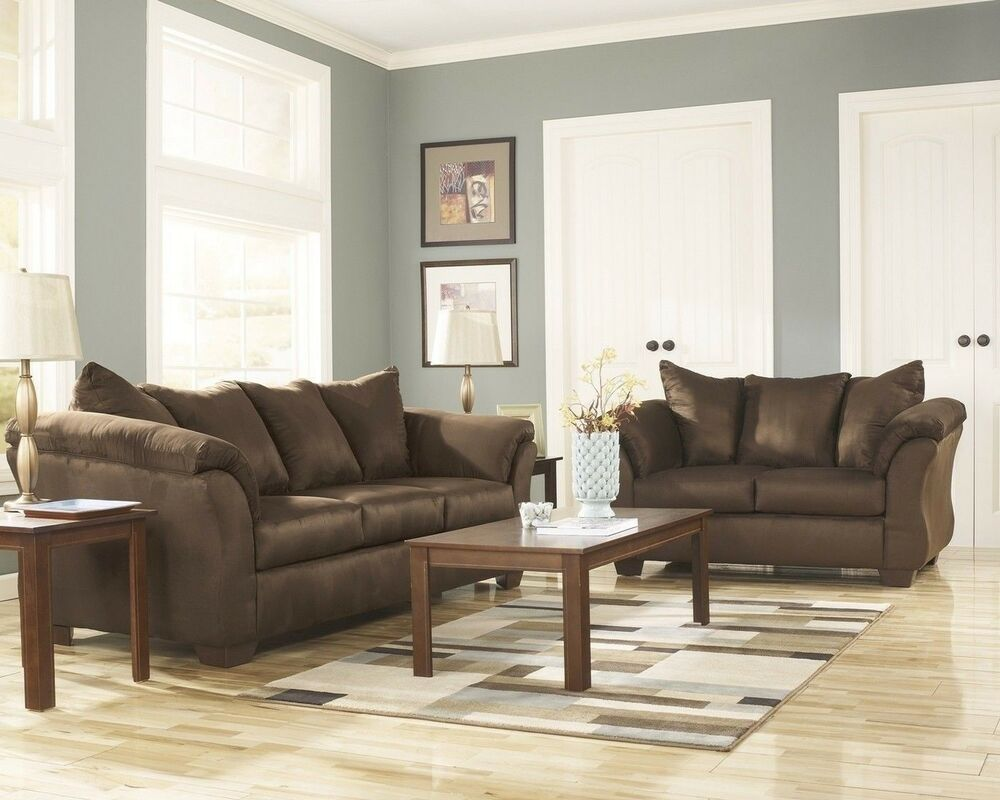 Living Room Sofas Sets Luna Sofa, Loveseat, Chair & Ottoman Casual Microfiber 4
