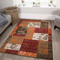 New Warm Red Orange Modern Patchwork Rugs Small Large ...