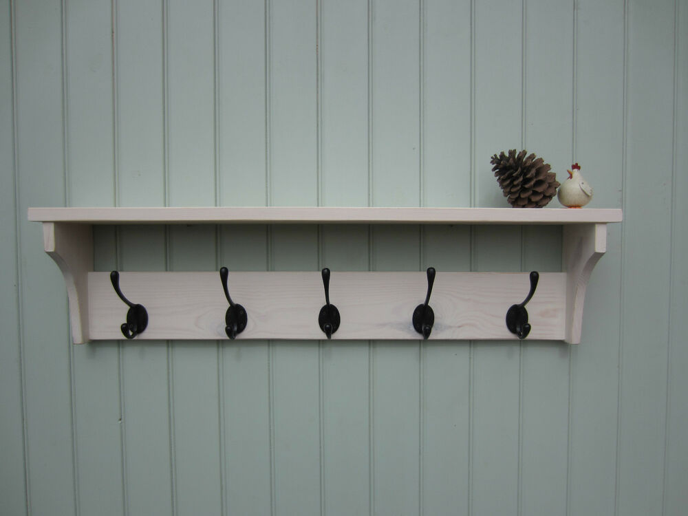 Shabby Chic White Washed Hat Coat Rack Shelf With Double