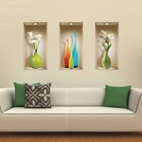 SET 3 ART WALL STICKER 3D DECALS PICTURE REMOVABLE HOME ...