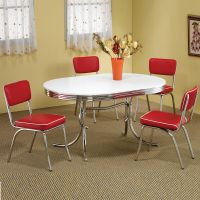 Retro 1950's Oval Table Red Black Cushion Chair 5 PC ...