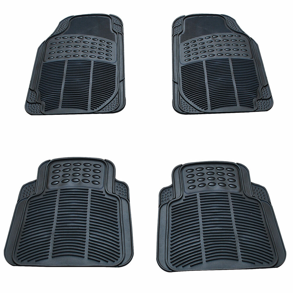 Universal 4pc Trimmable All Weather Floor Rubber Car Mats