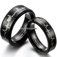 Forever Love Promise Black Tungsten Carbide Ring Couple ...
