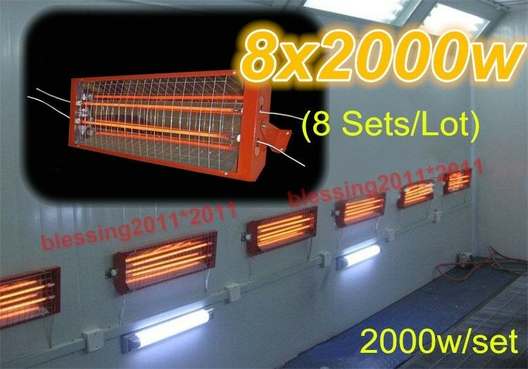 8sets X 2kw Spray Baking Booth Infrared Paint Curing Lamp