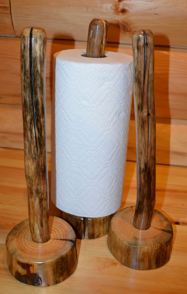 Holz Handtuchhalter Paper Towel Holder Log Cabin Rustic Wood Countertop | Ebay