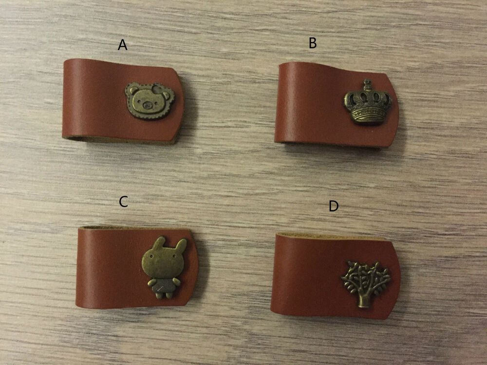 New Handmade Brown Leather Cable Cord Winder Holder Tie