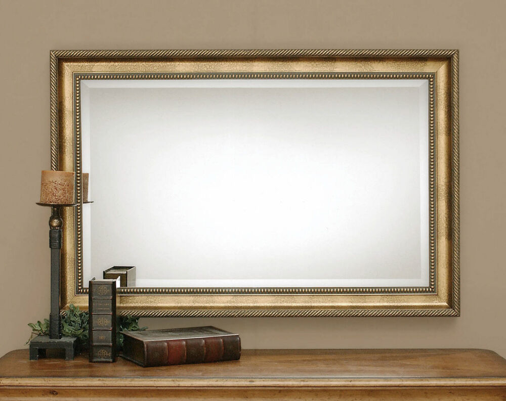 Beveled Mirror Wood Frame Sinatra Large Rectangular Wood Beveled Wall Mirror Ebay
