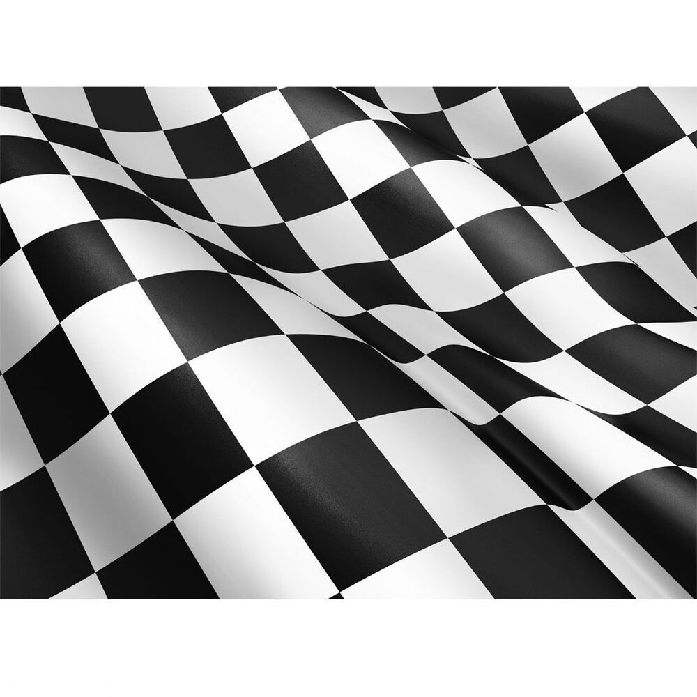 Checkered Flag Cars Nascar Wallpaper Border Large Chequered Black White Check F1 Racing 5 X 3ft Fans
