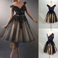 Vintage Tea length Black Formal Evening Dress Party Prom ...