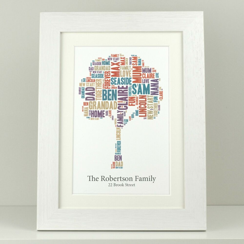 Personalised New Home Gifts New Home Gift Family Word Tree Personalised Print Family Gift Present Va006 Ebay