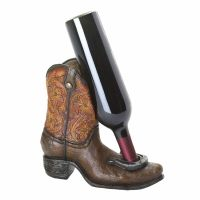Lucky Cowboy Boot Horseshoe Wine Bottle Holder Western Bar ...