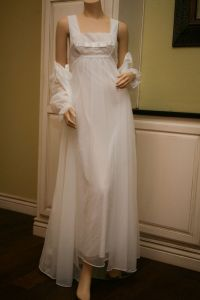 Vintage Shadowline Peignoir Set Chiffon Bridal White ...
