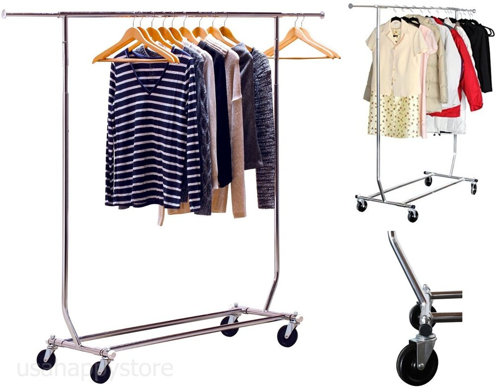 Commercial Rolling Garment Rack Heavy Duty Chrome Hanging