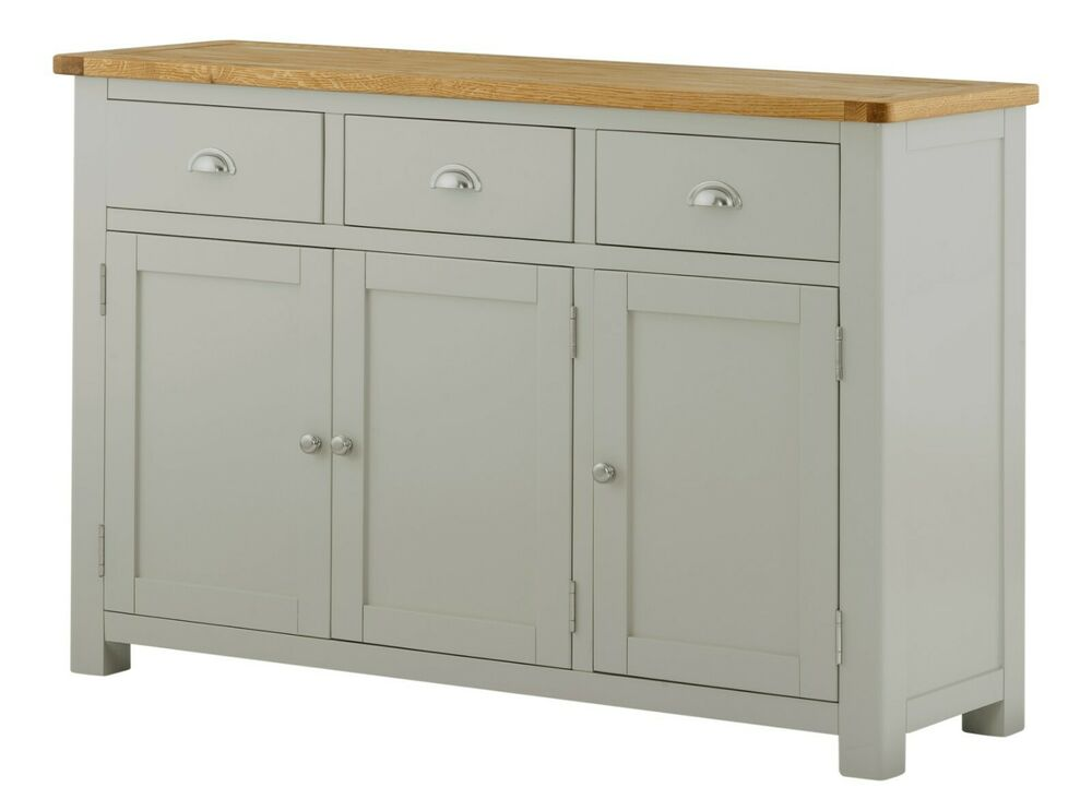 Sideboard Holz Grau Padstow Painted Grey Sideboard / Solid Wood Painted Oak