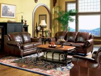 MAJESTIC - TRADITIONAL BROWN GENUINE LEATHER SOFA COUCH ...