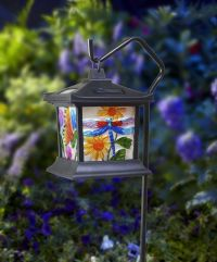 Hanging Stained Glass Lamp LED Light Solar Powered Outdoor ...
