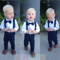 New Matching Clip-on Suspender + Bowtie for Kids Toddler ...