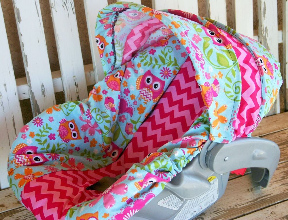 Infant Carrier That Is Not A Car Seat Owls With Pink Chevron Infant Car Seat Cover And Hood